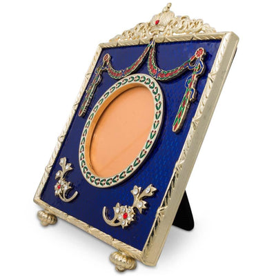 Square Blue Enameled Guilloche Russian Antique Style Picture Frame 5 Inches by BestPysanky