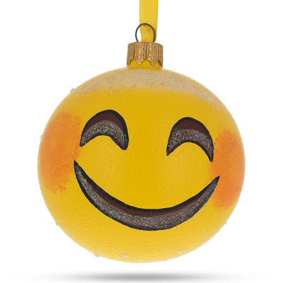 Smiling Face Emoji Glass Ball Christmas Ornament 3.25 Inches by BestPysanky