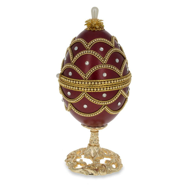 Real Eggshell Royal Inspired Russian Egg with Music Box 5.4 Inches
