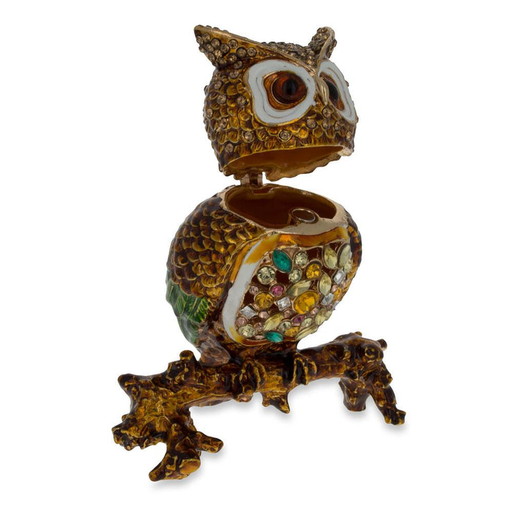 Buy Online Gift Shop Jeweled Owl Trinket Box Figurine 3.4 Inches