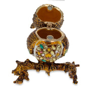 Jeweled Owl Trinket Box Figurine 3.4 Inches