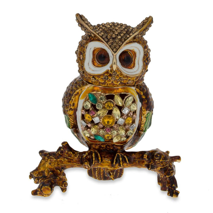 Jeweled Owl Trinket Box Figurine 3.4 Inches by BestPysanky