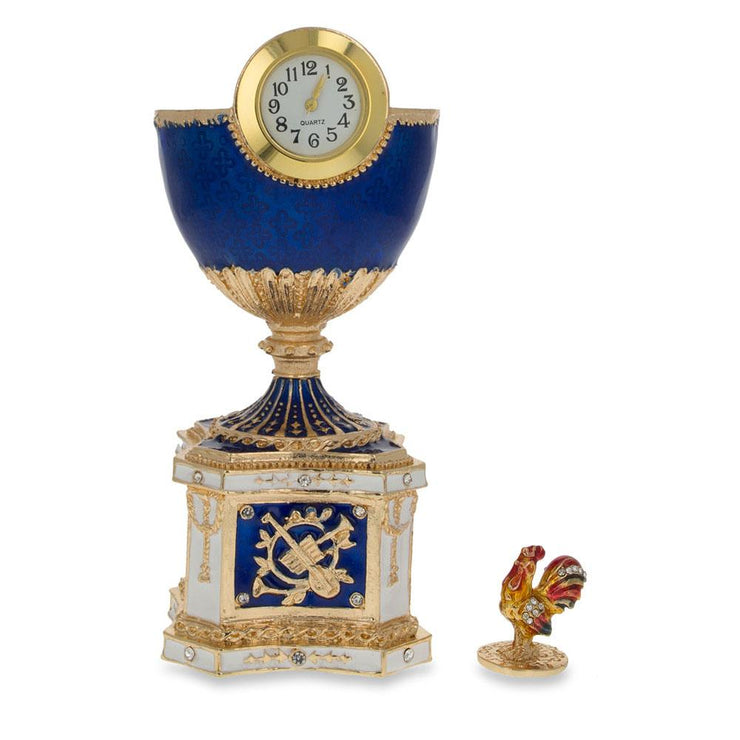 1904 Kelch Chanticleer Blue Enamel Royal Russian Egg with Clock