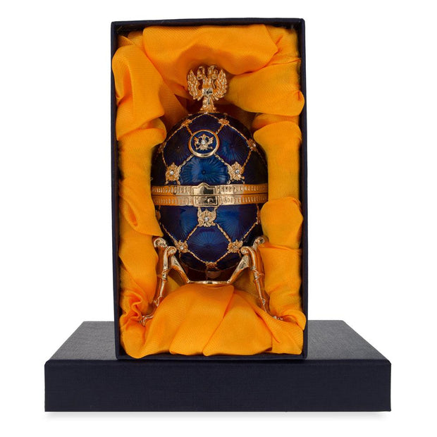 Russian Coat Of Arms Blue Royal Inspired Russian Egg 4.8 Inches