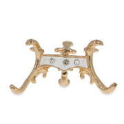 White Enamel with Crystals Gold Tone Metal Egg Stand Holder Display