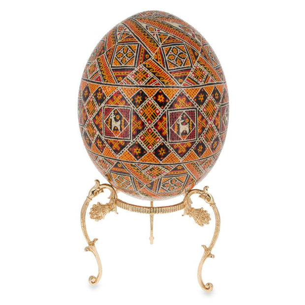 Antique Style Gold Tone Metal Ostrich Egg Stand Holder 3.6 Inches