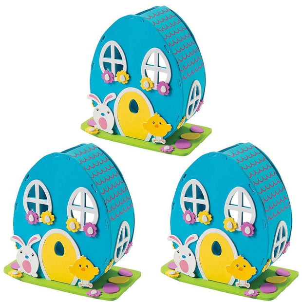 Set of 3 DIY Craft Kits with Easter Bunny & Chick Foam House by BestPysanky