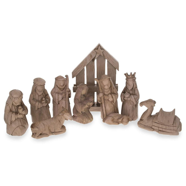 Set of 9 Blank Unpainted Resin Nativity Scene Set Figurines 5.75 Inches by BestPysanky