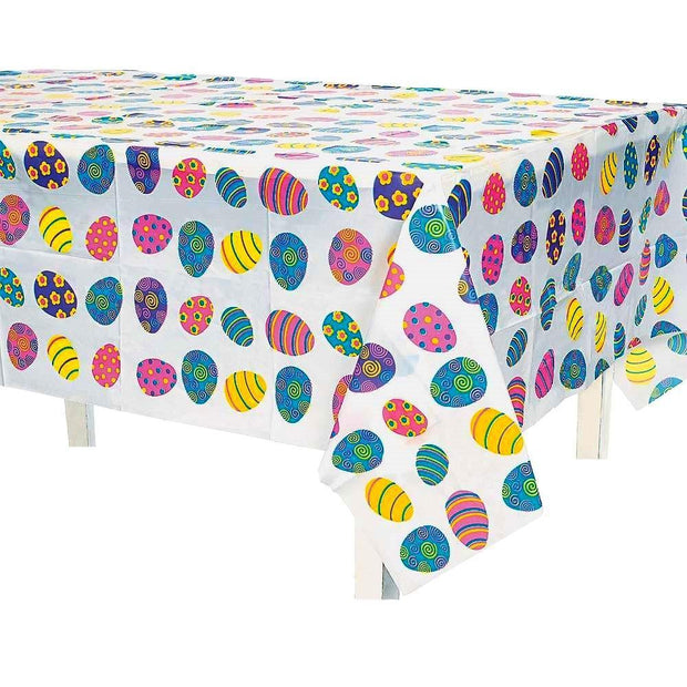 Colorful Plastic Easter Egg Table Cover 54 Inches x 72 Inches by BestPysanky