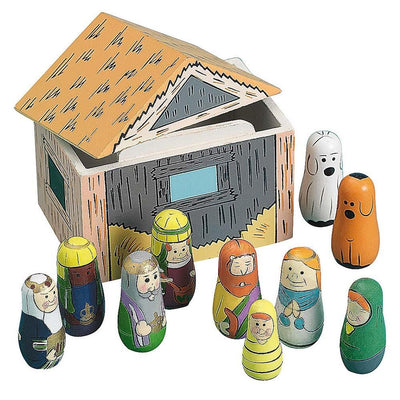 Set of 10 Nativity Scene Set Wooden Dolls in Manger by BestPysanky