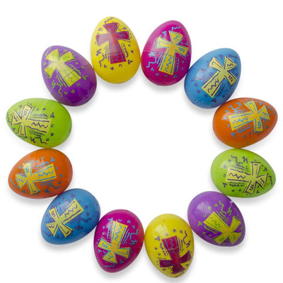Set of 12 Bright Crosses Plastic Easter Eggs 2.25 Inches by BestPysanky