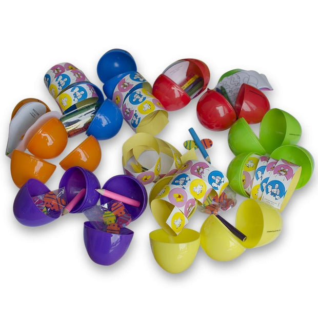 Buy Online Gift Shop Set of 24 Large 3 Inches Plastic Eggs w/ Pencils, Stickers, and Crayons