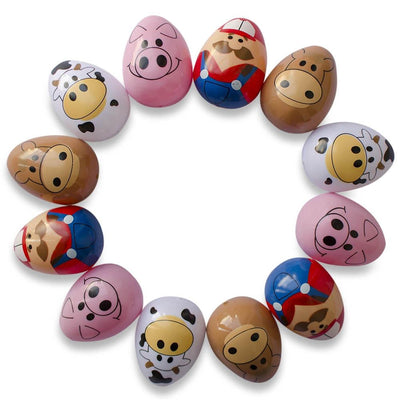 Set of 12 Assorted Farm Animal Cow Pig Horse Plastic Easter Eggs by BestPysanky