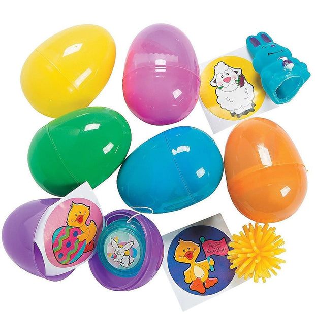 Set if 24 Bright Plastic Easter Egg with Toys 2.25 Inches by BestPysanky