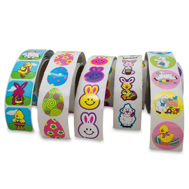 Set of 5 Rolls with 500 Easter Stickers by BestPysanky