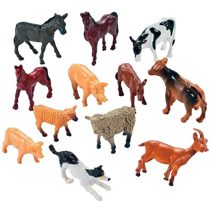 Set of 12 Resin Farm Animal Figurines by BestPysanky