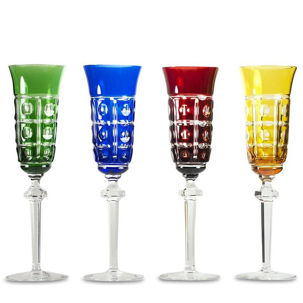 Set of 4 Multicolored Crystal Champagne Glasses by Arnstadt Germany by BestPysanky