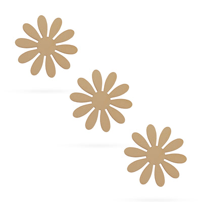 3 Flowers Unfinished Wooden Shapes Craft Cutouts DIY Unpainted 3D Plaques 4 Inches by BestPysanky