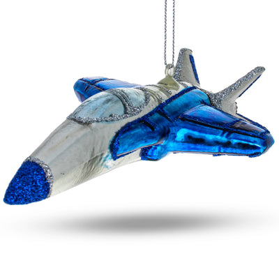 Blue Fighter Jet Airplane Glass Christmas Ornament by BestPysanky