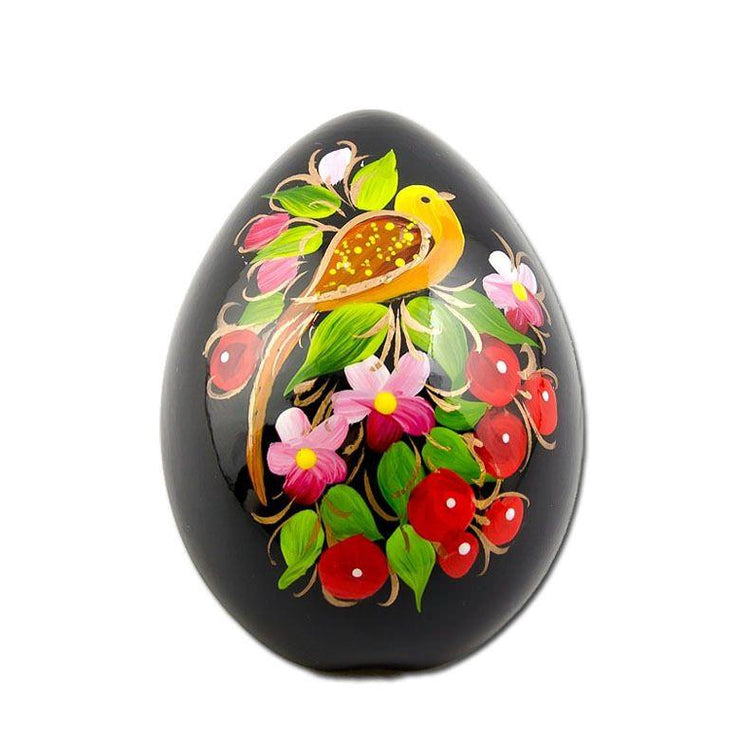Yellow Bird and Flowers Hi-Gloss Wooden Fridge Magnet by BestPysanky