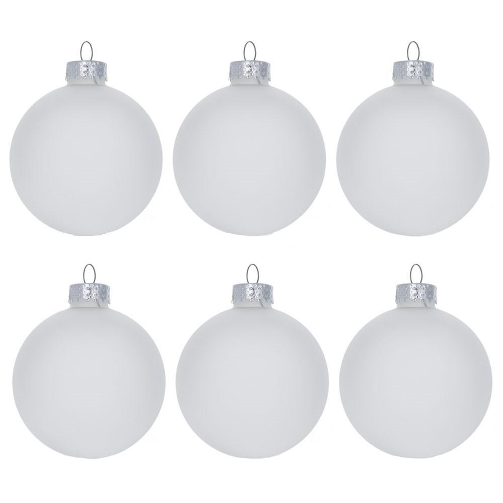 new concept 52f54 ebf20 Set of 6 Frosted Clear Glass Ball Christmas Ornaments 2.75 Inches