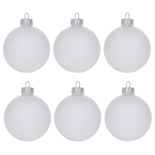 Set of 6 Frosted Clear Glass Ball Christmas Ornaments 2.75 Inches