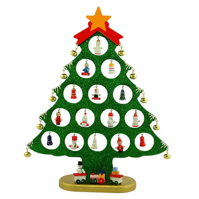 Wooden Tabletop Christmas Tree with 25 Miniature Ornaments 12 Inches by BestPysanky