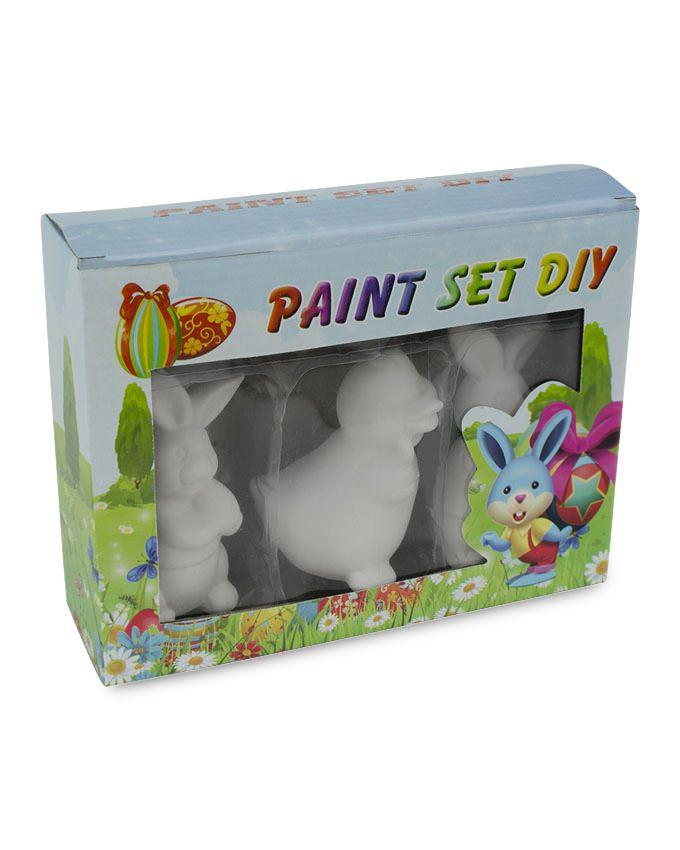Buy Online Gift Shop Set of 3 Unfinished Unpainted Easter Bunnies and Duckling Figurines 4 Inches