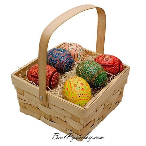 6 Ukrainian Hand Painted Wooden Easter Eggs in Gift Basket | BestPysanky