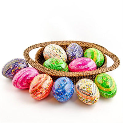12 Hand Painted Ukrainian Wooden Easter Eggs in Assortment by BestPysanky