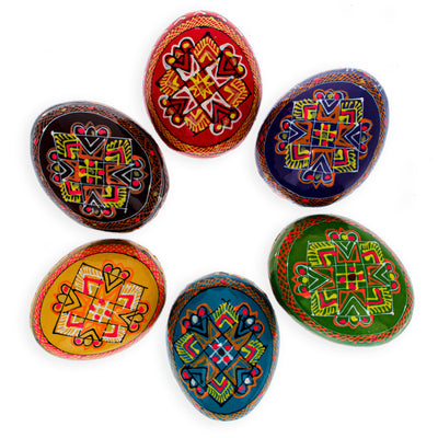 Set of 6 Hand Painted Wooden Ukrainian Easter Eggs 2.5 Inches by BestPysanky