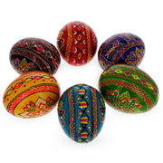 Buy Online Gift Shop Set of 6 Hand Painted Wooden Ukrainian Easter Eggs 2.5 Inches