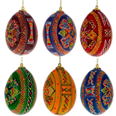 Set of 6 Hand Painted Ukrainian Wooden Easter Egg Ornaments 2.25 Inches by BestPysanky