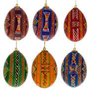 Set of 6 Hand Painted Ukrainian Wooden Easter Egg Ornaments 2.25 Inches