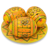 BestPysanky Easter Eggs > Wooden Eggs > Regular Size - Set of 3 Yellow Ukrainian Wooden Easter Eggs Pysanky on Plate