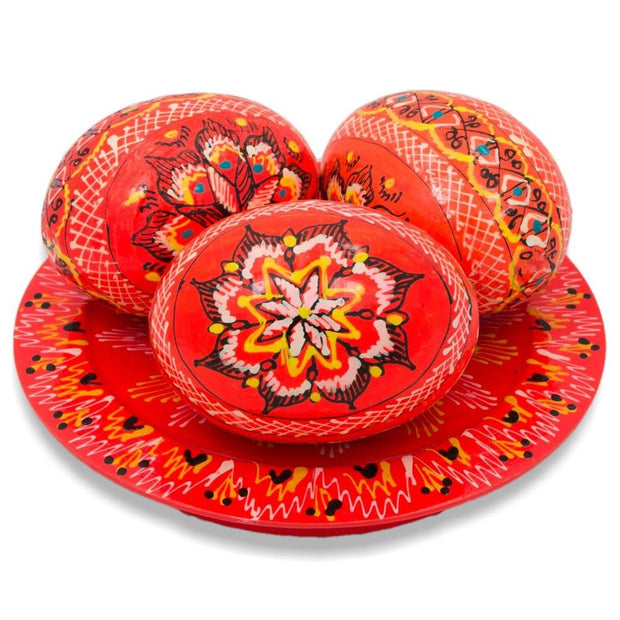 BestPysanky Easter Eggs > Wooden Eggs > Regular Size - Set of 3 Neon Orange Ukrainian Wooden Easter Eggs Pysanky on a Plate