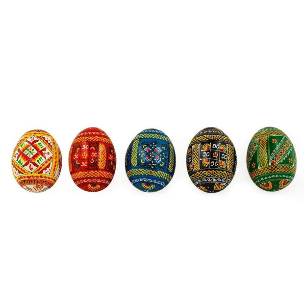 Buy Online Gift Shop Set of 5 Colorful Ukrainian Wooden Pysanky Easter Eggs