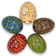 Set of 5 Colorful Ukrainian Wooden Pysanky Easter Eggs by BestPysanky
