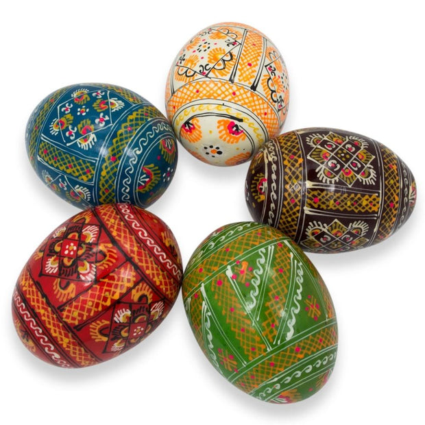 "BestPysanky Easter Eggs > Wooden Eggs > Regular Size - 2.25"" Set of 5 Colorful Ukrainian Wooden Pysanky Easter Eggs"