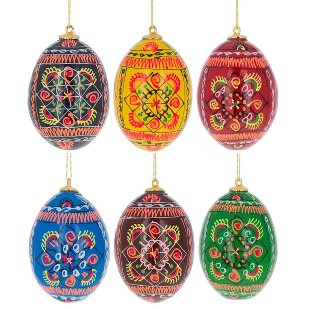 Set of 6 Ukrainian Geometric Wooden Pysanky Easter Eggs Ornaments by BestPysanky