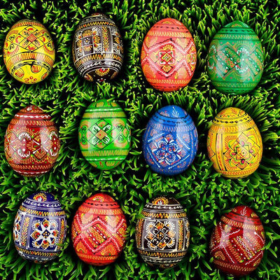 12 Ukrainian Geometric Wooden Easter Eggs in Assortment by BestPysanky