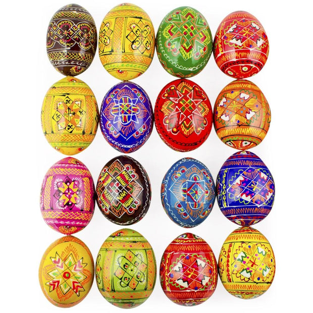 BestPysanky Easter Eggs > Wooden Eggs > Regular Size - 200 Ukrainian Geometric Design Wooden Eggs