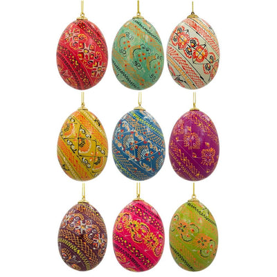 Set of 9 Pysanky Ukrainian Easter Egg Wooden Easter Ornaments 2.5 Inches by BestPysanky