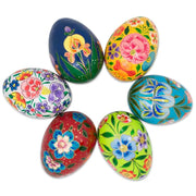 Set of 6 Garden Flowers Wooden Pysanky Ukrainian Easter Eggs Pysanky 3 Inches by BestPysanky
