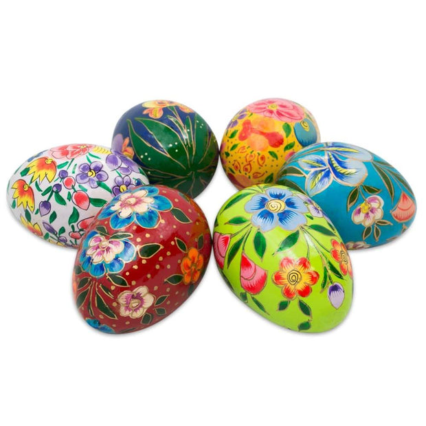 Set of 6 Garden Flowers Wooden Pysanky Ukrainian Easter Eggs Pysanky 3 Inches