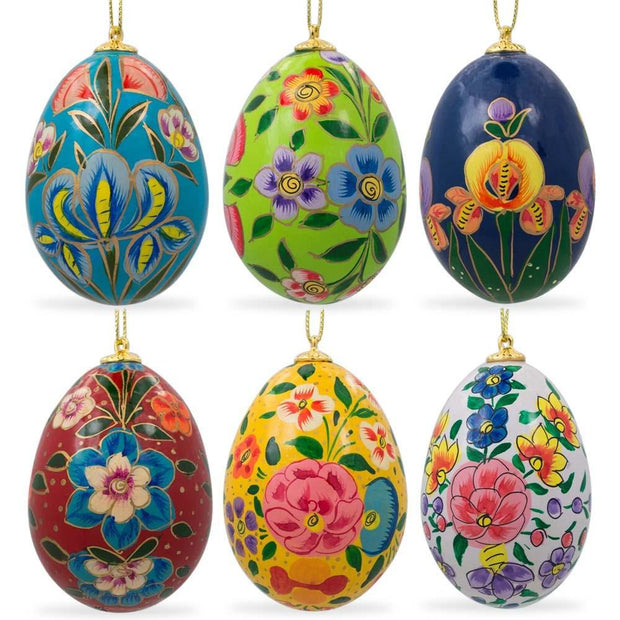 Set of 6 Garden Flowers Ukrainian Wooden Easter Eggs Ornaments Pysanky by BestPysanky