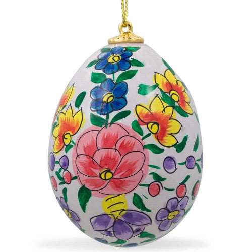 Purple and Orange Flowers on Blue Wooden Egg Easter Ornament 3 Inches