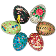 Set of 6 Flowers and Birds Wooden Pysanky Ukrainian Easter Eggs Pysanky 3 Inches by BestPysanky