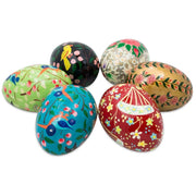 Buy Online Gift Shop Set of 6 Flowers and Birds Wooden Pysanky Ukrainian Easter Eggs Pysanky 3 Inches