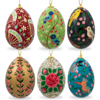 Set of 6 Flowers and Birds Ukrainian Wooden Easter Egg Ornaments by BestPysanky